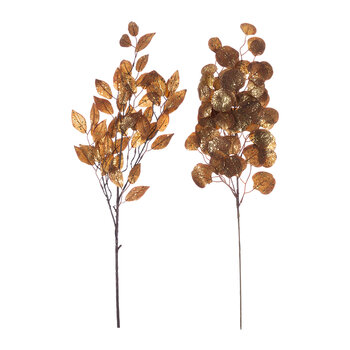 Glitter Leaf Spray - Set of  2 - Gold