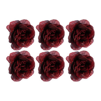 Glitter Rose Clip On Decoration - Set of 6 - Red