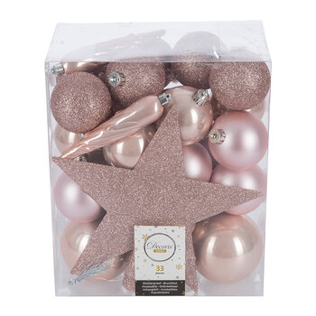 Set of 33 Assorted Baubles and Tree Topper - Blush Pink