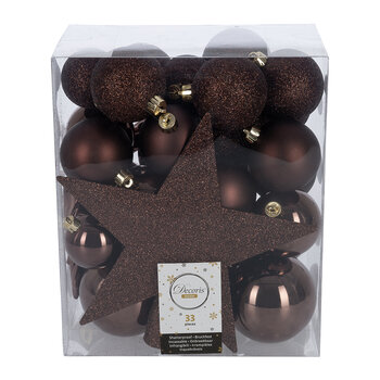 Set of 33 Assorted Baubles and Tree Topper - Dark Brown