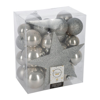 Set of 33 Assorted Baubles and Tree Topper - Misty Gray