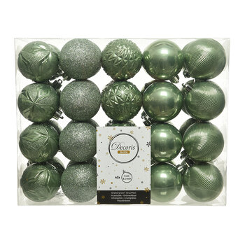 Set of 40 Assorted Baubles - Sage Green