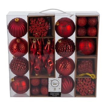 Set of 50 Assorted Baubles - Red
