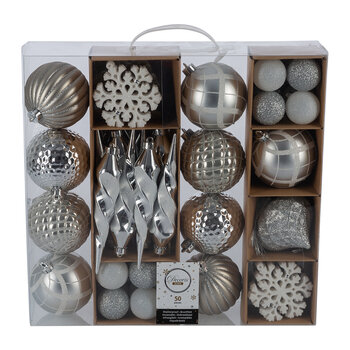 Set of 50 Assorted Baubles - Silver