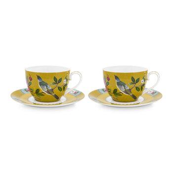 Blushing Birds Cup and Saucer - Set of 2 - Yellow