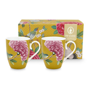 Blushing Birds Mug - Set of 2 - Yellow