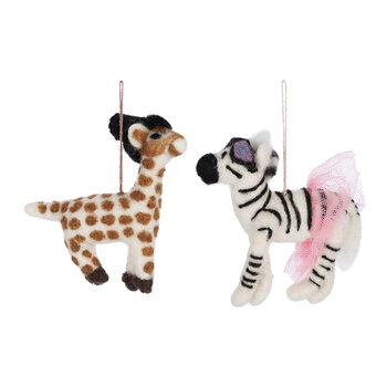 Sassy Zebra & Geoffrey Giraffe Tree Decoration - Set of 2