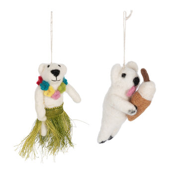 Polar Bear Tree Decoration - Set of 2