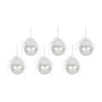 Frosted Bauble with Feather - Set of 6 - White