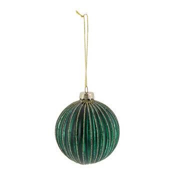 Glitter Ridged Glass Bauble - Set of 6 - Green/Gold