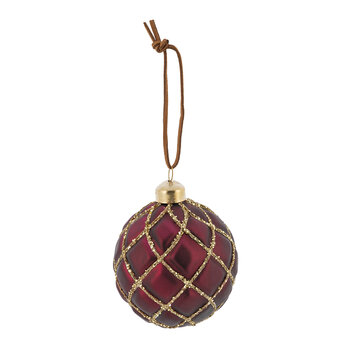 Quilted Effect Glass Bauble - Set of 6 - Burgundy