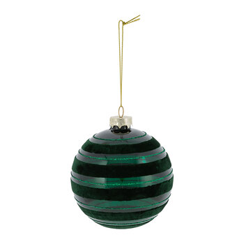 Stripe Flocked Glass Bauble - Set of 4 - Green