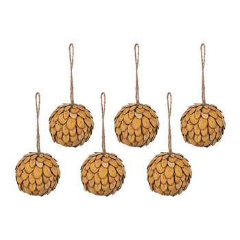 Wood Slice Bauble - Set of 6