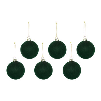 Flocked Glass Bauble - Set of 6 - Green