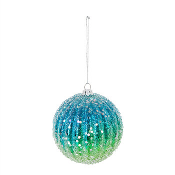 Frosted Shatterproof Bauble - Set of 4 - Blue/Green