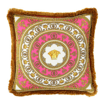 I Love Baroque Silk Pillow - 50x50cm - Pink/White/Gold