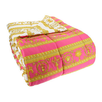 Barocco&Robe Reversible Bedspread - Pink/White/Gold
