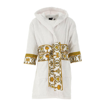 Kids Barocco&Robe Hooded Bathrobe - White