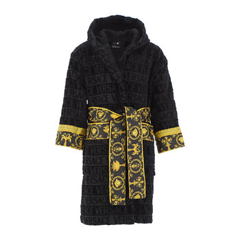Kids Barocco&Robe Hooded Bathrobe - Black