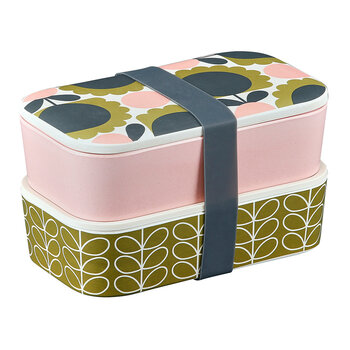 Scallop Flower Bamboo 2 Tier Lunch Box - Forest