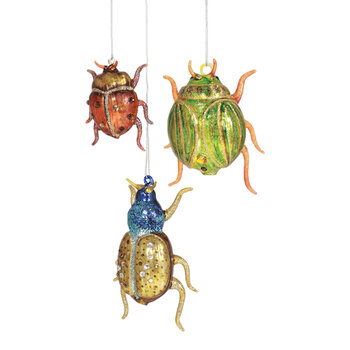 Glittered Insect Tree Decorations - Set of 3
