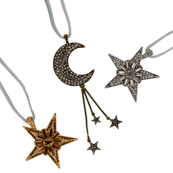 Moon and Stars Tree Decoration - Set of 3
