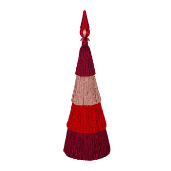 Tassel Layered Tree Ornament - Large - Burgundy