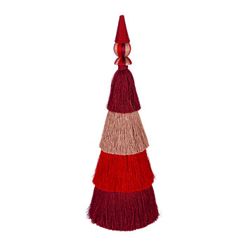 Tassel Layered Tree Ornament - Small - Burgundy