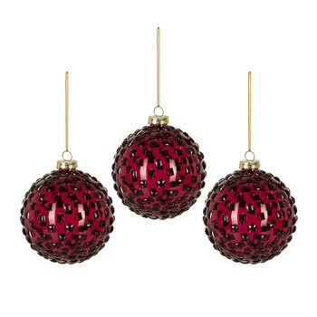 Jewelled Glass Bauble - Set of 3 - Red