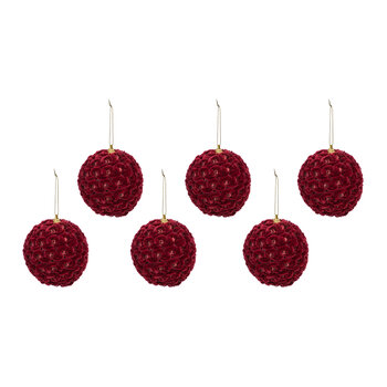 Textured Velvet Bauble - Set of 6 - Red