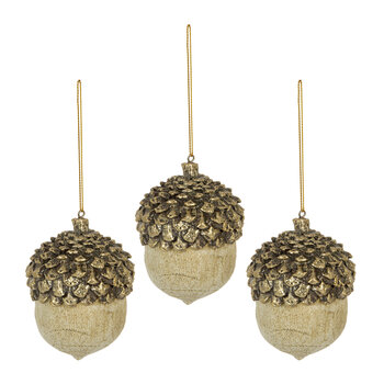 Acorn Tree Decoration - Set of 3 - White/Gold