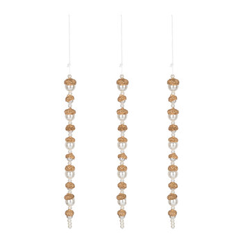 Gold Beaded Dangle Tree Decoration - Set of 3