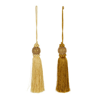 Beaded Tassel Tree Decorations - Set of 2 - Gold