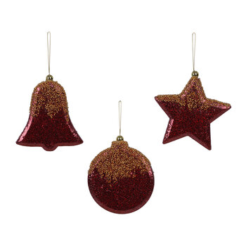 Glitter Bell/Star/Ball Tree Decorations - Set of 3 - Burgundy/Gold