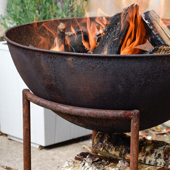 Outdoor Cast Iron Firebowl on Stand - Rust