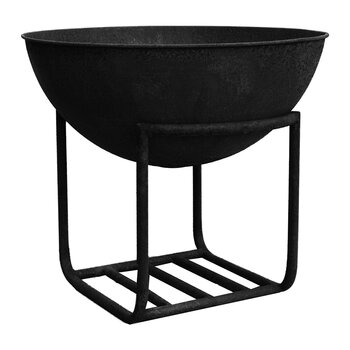 Outdoor Cast Iron Firebowl on Stand - Black