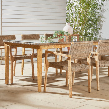 Outdoor Rattan Dining Table with Glass Top