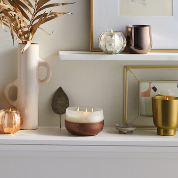 Gilded Tumbler Candle - Copper Leaves