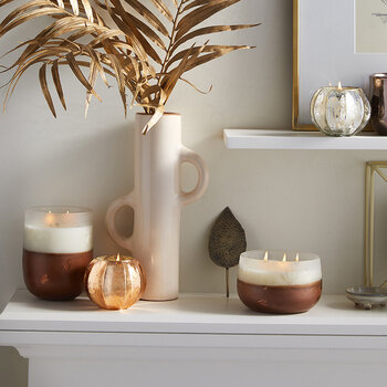 Low Leaved Iced Candle - Copper Leaves