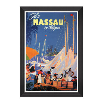 Caribbean Travels Framed Print - 60x90cm - Fly to Nassau