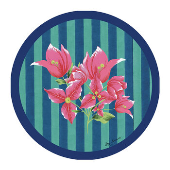 Bougainvillea Stripes Round Placemat