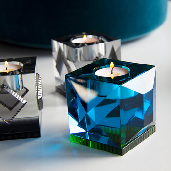 Ophelia Crystal Tealight Holder - Azure/Green