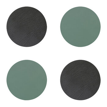 Double Circle Drinks Coaster - Set of 4 - Anthracite / Pastel Green