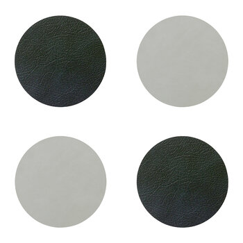 Double Circle Drinks Coaster - Set of 4 - Black / Metallic