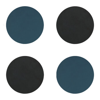 Double Circle Drinks Coaster - Set of 4 - Dark Blue / Black
