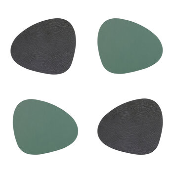 Double Curve Drinks Coaster - Set of 4 - Anthracite / Pastel Green