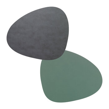 Double Curve Table Mat - Set of 4 - Anthracite / Pastel Green