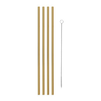 Metal Straws with Cleaner - Set of 4 - Gold
