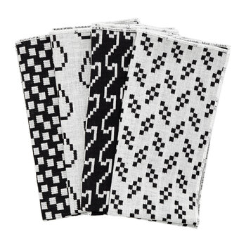 Assorted Printed Napkins - Set of 4 - Black & White