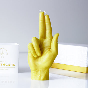 'Gun Fingers' Candle - Yellow